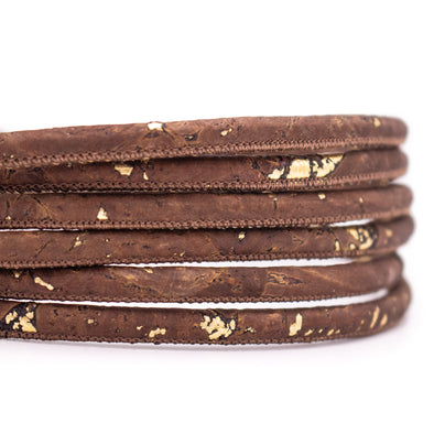 10meters Brown & Gold 5mm round cork cord COR-465