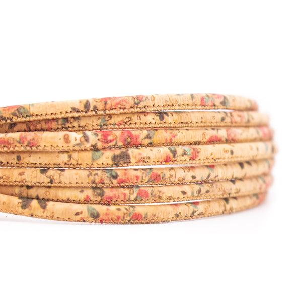 10 meters Flower pattern 3mm Round  Cork Cord COR-484