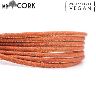 10 meters light orange 3mm round cork cord COR-499