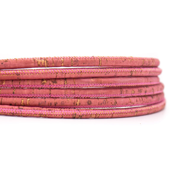 10meters Peach red 5mm round cork cord  COR-501