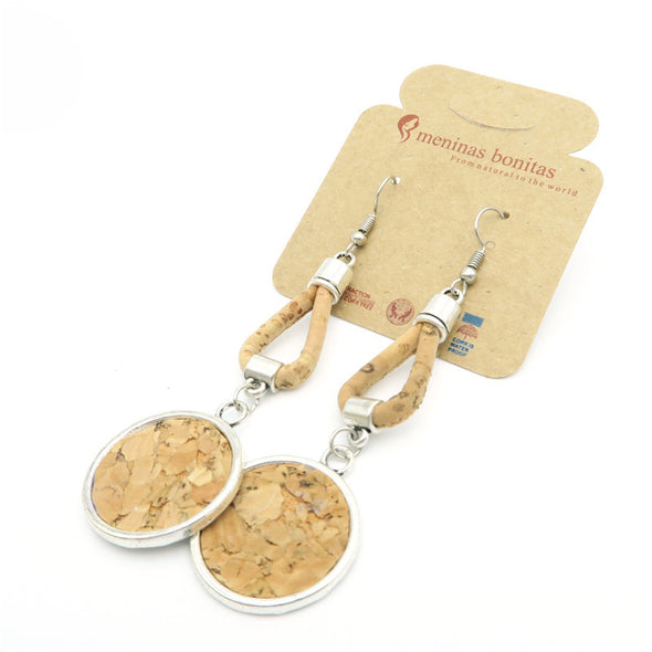 MB Cork  cork earrings with round cork inside,natural handmade original high quality fashion women dangle earrings Er-013