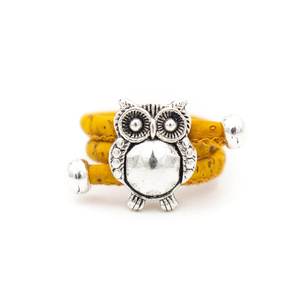 Colorful cork with owl pendant Antique Silver women Ring original adjustable jewelry RW-015-10