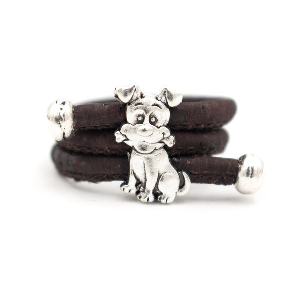 Colored Cork cute dog ring Antique Sliver vintage animal women Ring original adjustable wooden jewelry HR-023-MIX-10