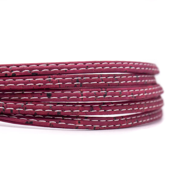 10meter wine red 5mm flat cork cord COR-518