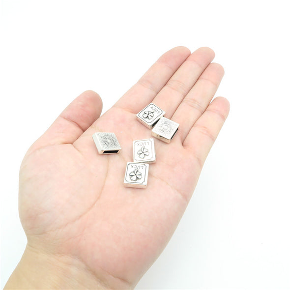10 Pcs For 10mm flat leather,Antique Silver clover square jewelry supplies jewelry finding D-1-10-32