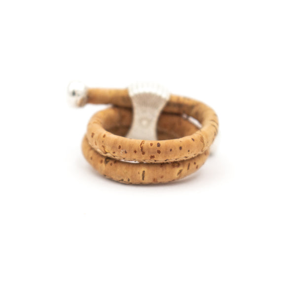 Natural Cork with colored turquoise oval antique silver ring vintage women Ring original adjustable wooden jewelry R-065-MIX-10