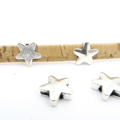 10 Pcs for 10mm flat leather,Antique Silver Star jewelry supplies jewelry finding D-1-10-45