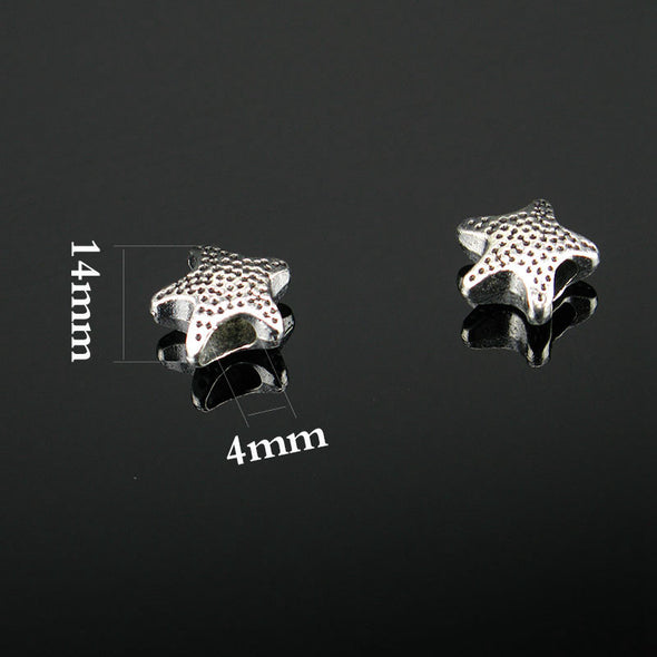 20 Pcs for 5mm round leather Antique Silver Star beads jewelry supplies jewelry finding D-5-5-12