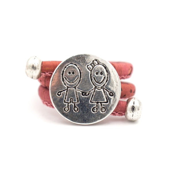 Coloured Cork Boy and Girl  ring Antique Silver vintage animal women Ring original adjustable wooden jewelry RW-003-MIX-10