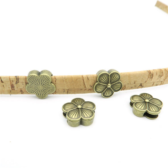 10 Pcs For 10mm flat leather,Antique Bronze Flower jewelry supplies jewelry finding D-1-10-33