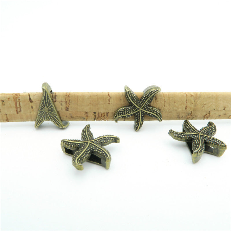 10 Pcs For 10mm flat leather,Antique Bronze Sea star jewelry supplies jewelry finding D-1-10-21