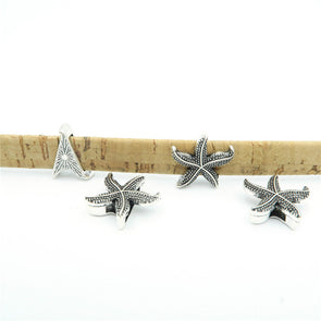 10 Pcs For 10mm flat leather,Antique Silver Sea star jewelry supplies jewelry finding D-1-10-22