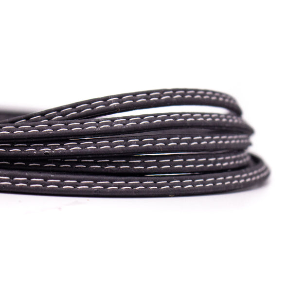 10meters black color 5mm flat cork cord COR-515
