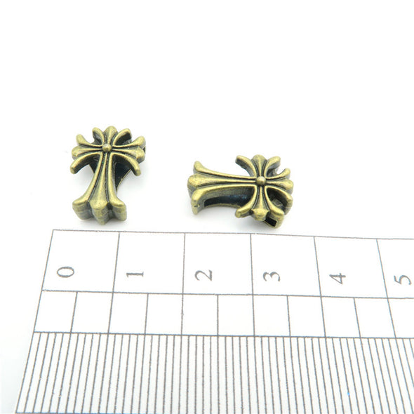 10 Pcs For 10mm flat leather,Antique Bronze Cross jewelry supplies jewelry finding D-1-10-23
