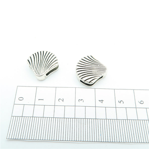 10 Pcs For 10mm flat leather,Antique Silver Shell beads jewelry supplies jewelry finding D-1-10-38