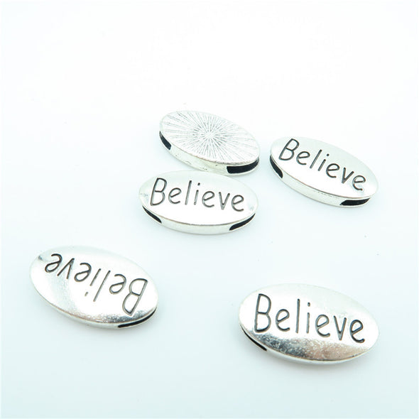 10 Pcs For 10mm flat leather,Antique Silver 'Belive' bead jewelry supplies jewelry finding D-1-10-17