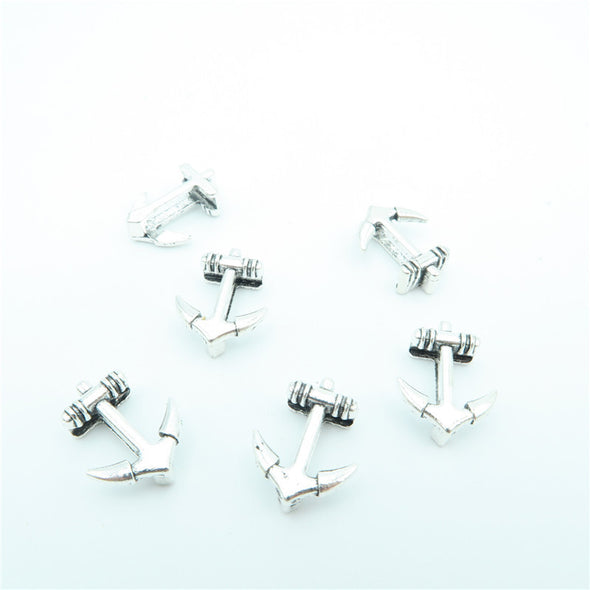 10 Pcs For 10mm flat leather,Antique Silver Anchor jewelry supplies jewelry finding D-1-10-25