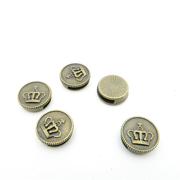 Promotional  10 Pcs For 10mm flat leather,Antique Bronze crown Beads jewelry supplies jewelry finding D-1-10-26