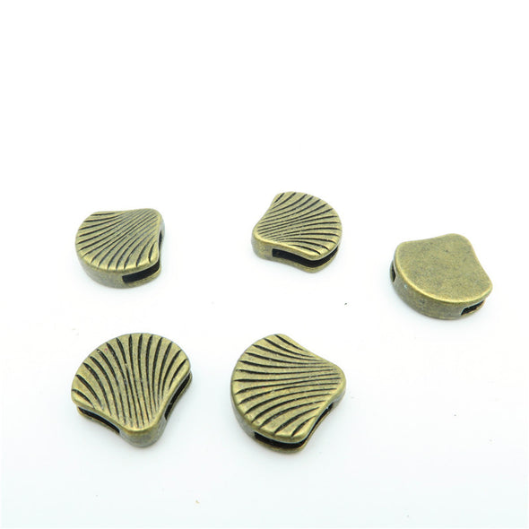 10 Pcs For 10mm flat leather,Antique Bronze Shell beads jewelry supplies jewelry finding D-1-10-37