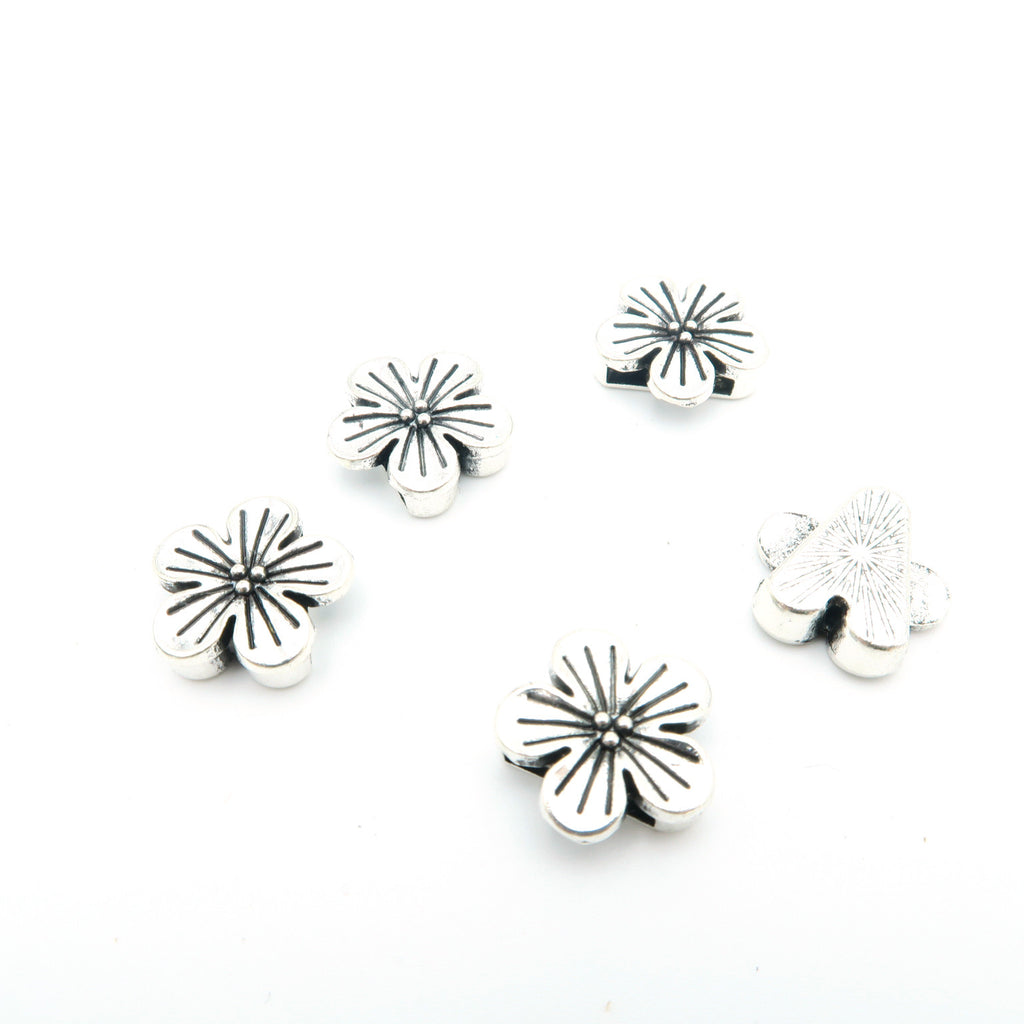 10 Pcs for 10mm flat leather,Antique Silver Flower jewelry supplies jewelry finding D-1-10-46