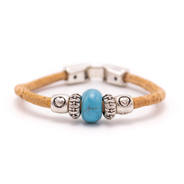 Natural cork with Colored turquoise beads handmade friendship bracelet adjustable BR-440-MIX-6
