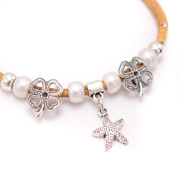 Natural cork bee bracelet with Clover charmfriendship bracelet adjustable BR-286-AB-10
