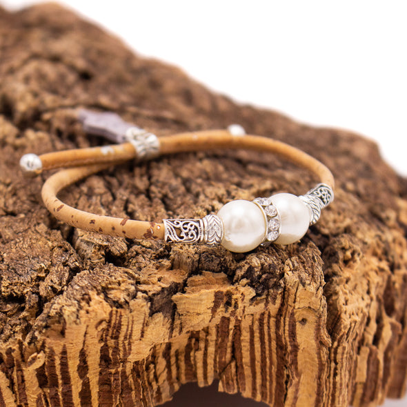 Natural cork  with pearl beads bracelet for women natural Vintage handmade vegan bracelet jewelry BR-438-10
