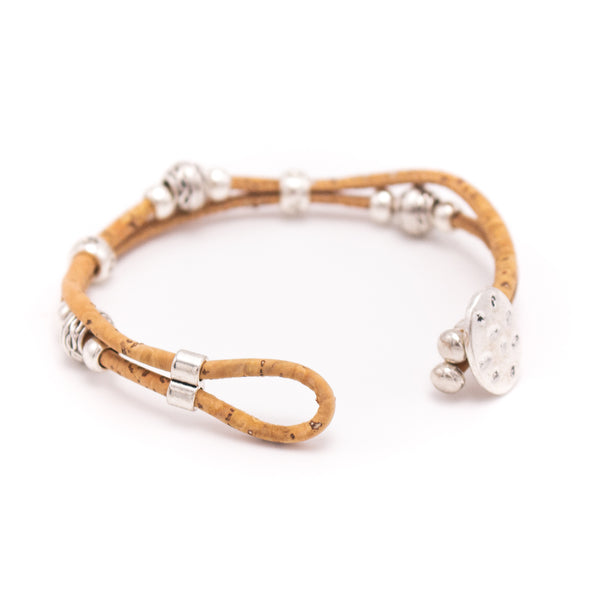 Natural cork with round beads handmade friendship bracelet adjustable cork jewelry BR-434-5