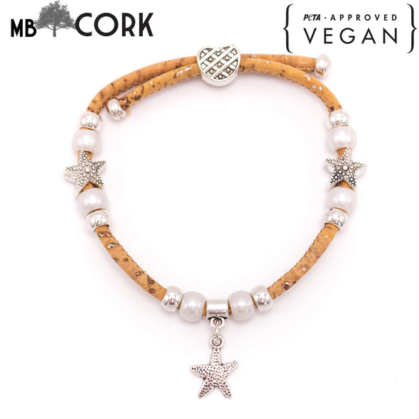 Natural cork bracelet Pearl with starfish handmade  women natural bracelet original handmade wood jewelry BR-433-10