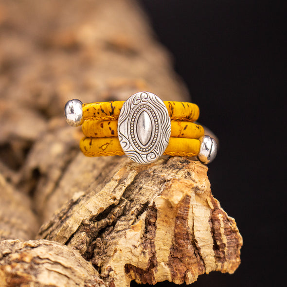 Colored Portuguese cork Antique Silver oval Ring original adjustable handmade jewelry HR-028-MIX-10