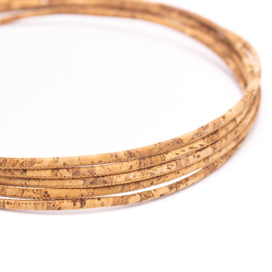 Wood grain with sliver color 3mm cork cord COR-534(10 meters)