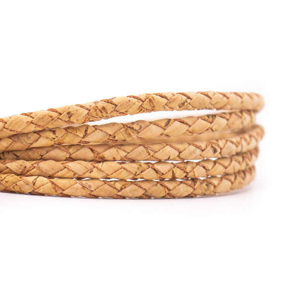 10meters Braided natural 5mm round cork cord   COR-545