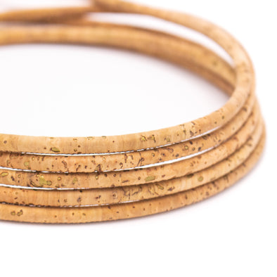 Gold mixed natural 5mm round cork cord   COR-537(10meters)