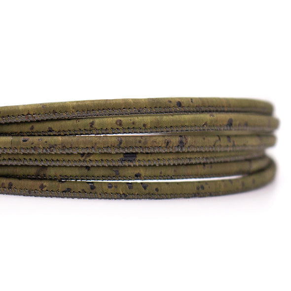 10meters dark green 3mm round cork cord COR-543