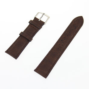 Natural cork watch strap Brown cork with PU leather handmade vegan high quality E-001