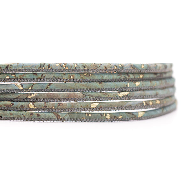 10 Meters Golden mix turquoise color 3mm cork cord COR-541