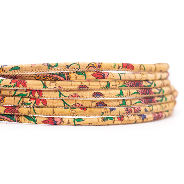 10 meters Flower pattern 3mm Round  Cork Cord COR-544