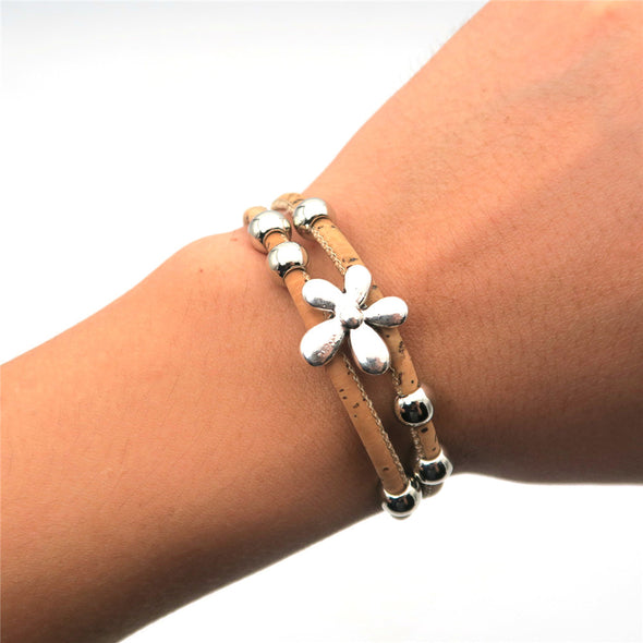 Natural cork silver floral beads Bracelet Brw-020