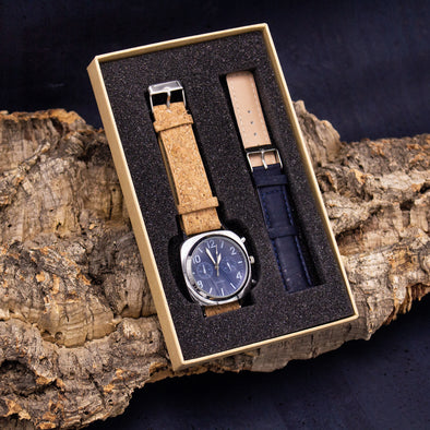 Classic natural cork and navy strap watch WA-172-BOX-D