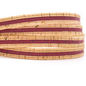 Rustik Natural with red wine 10mm flat cork cord Cor-203(10meters)