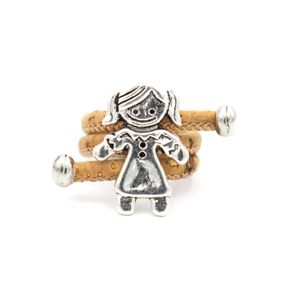 Natural Cork Portuguese cork Antique Sliver cute girl daughter women Ring soft original, adjustable handmade HR-034