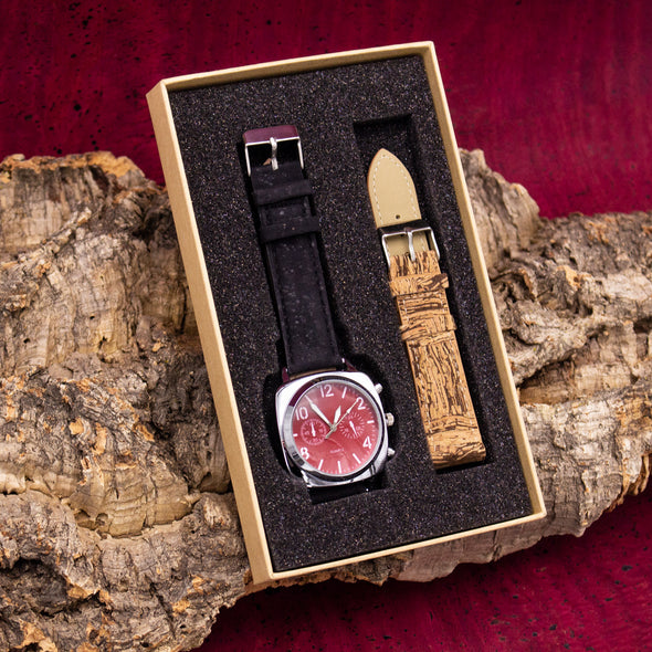 Matt black and crackled natural cork watch WA-172-BOX-F
