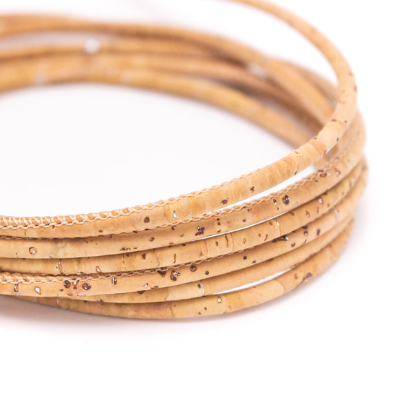 10 meters Natural with silver 3 mm round cork cord Cor-189