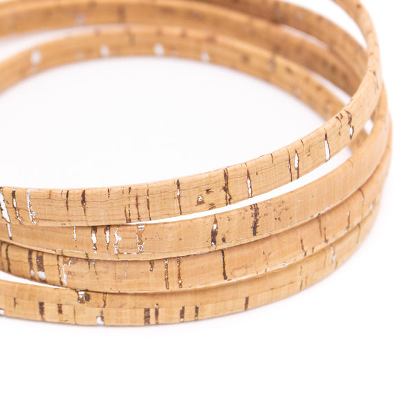 10 meters  natural with sliver 10mm flat cork cord Cor-200