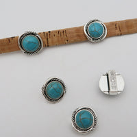 10Pcs for 10mm flat leather,turquoise slider Antique silver beads jewelry supplies jewelry finding D-1-10-150