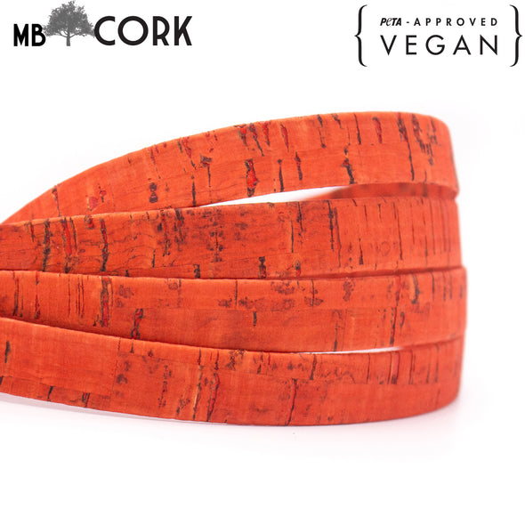15mm Red flat cork cord COR-563(10 meters)