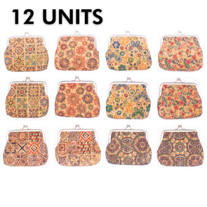 12 units cork coin purse with pattern women purse BAG-034-12