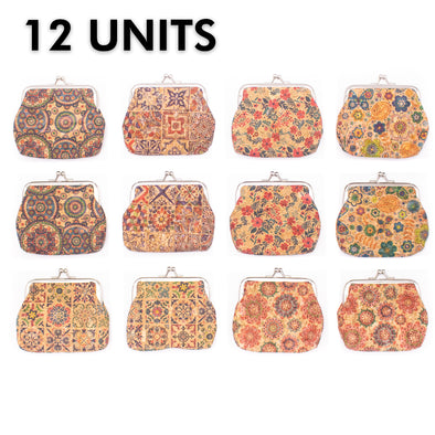 12 units cork coin purse with pattern women purse BAG-033-12