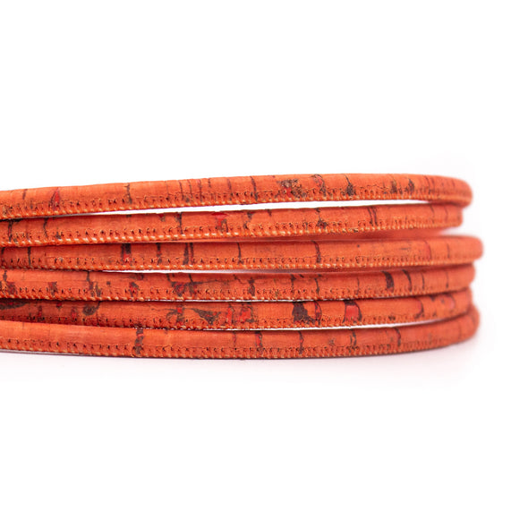 3mm round Dark Orange cork cord COR-337
