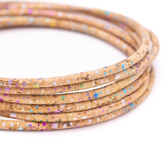 10Meter 5mm round splash of colours cork cord COR-331
